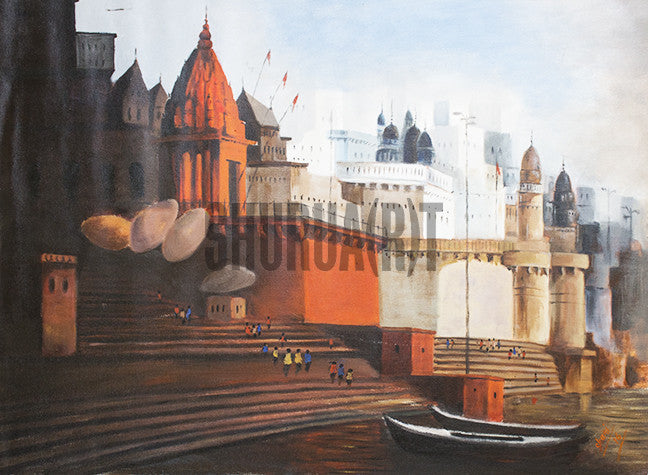 Original Painting of Beautiful Ghats in Varanasi