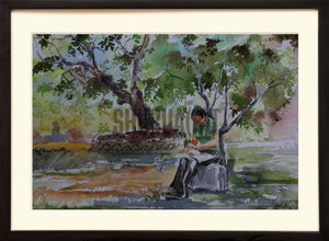 Landscape painting of a park in Banaras Hindu University
