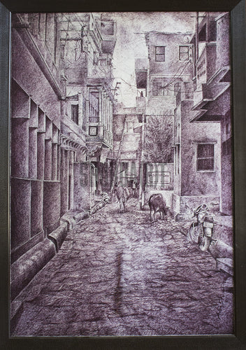 Original Painting of a Narrow Bylane in Varanasi