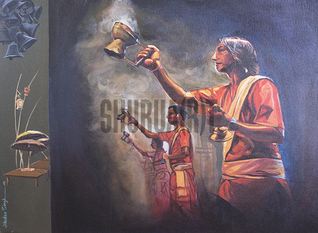 Original Painting of Gangaa Aartee in Varanasi