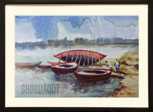 Load image into Gallery viewer, Painting of boats in Ganges in Varanasi