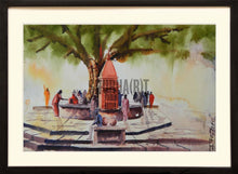 Load image into Gallery viewer, A holy communion: A landscape painting of temple under a tree at Assi Ghat in Varanasi