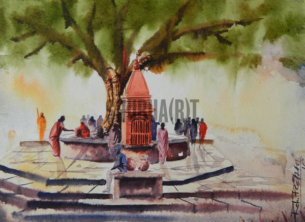 A holy communion: A landscape painting of temple under a tree at Assi Ghat in Varanasi