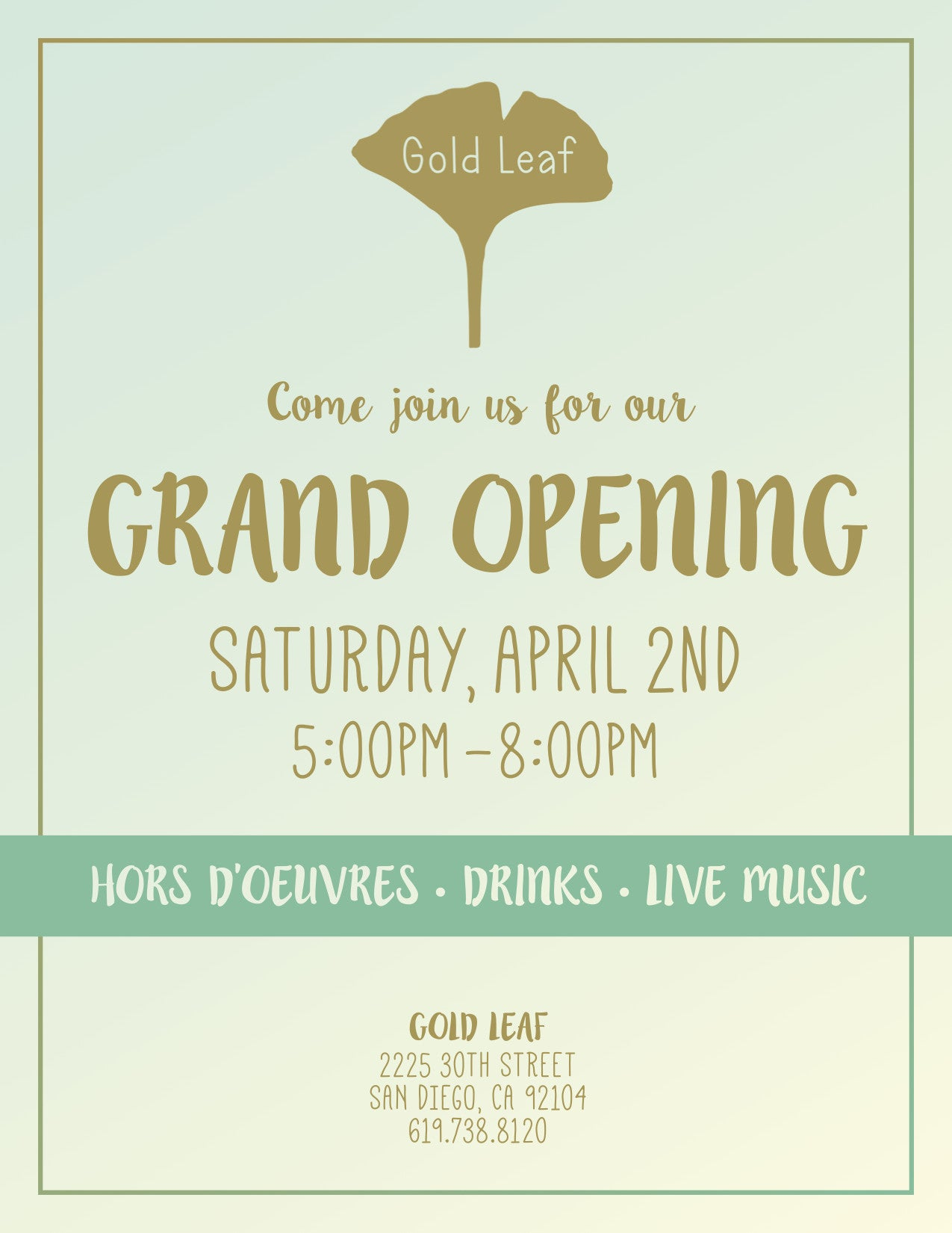 Grand Opening Saturday, April 2nd