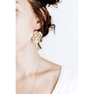 Monstera Leaf Earrings - Gold Leaf