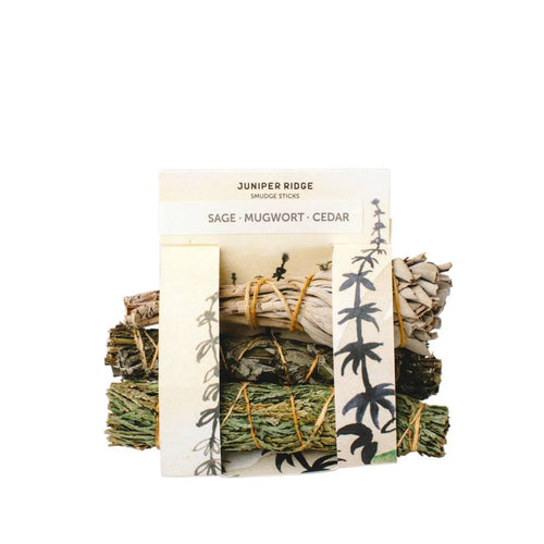 Smudge Cedar, Mugwort and Sage - Gold Leaf