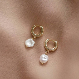 Pearl Huggie Earrings - Gold Leaf