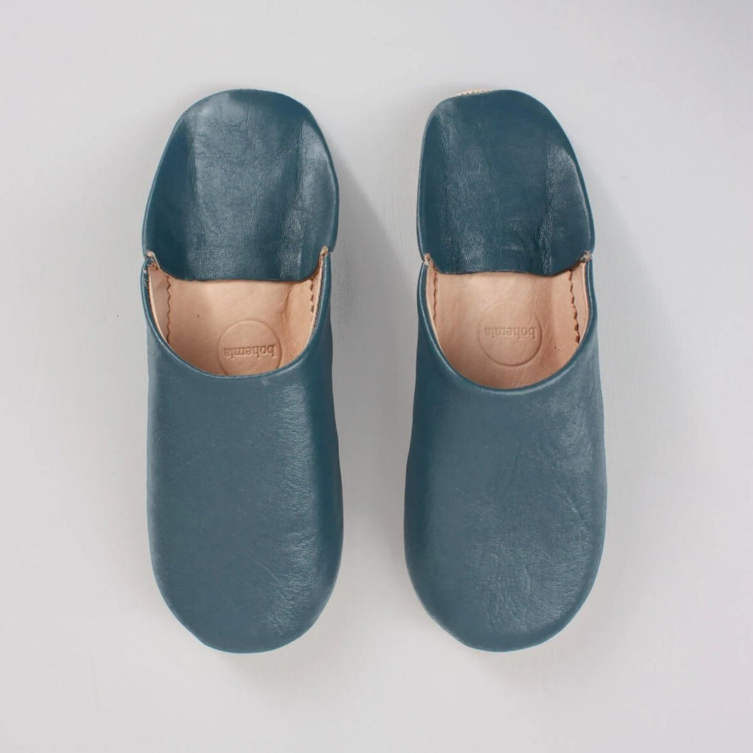 Blue, Grey Moroccan Babouche Slippers