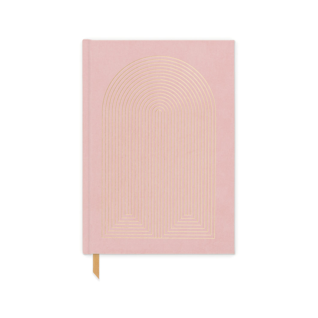 Dusty Pink Radiant Rainbow Suede Journal - Gold Leaf