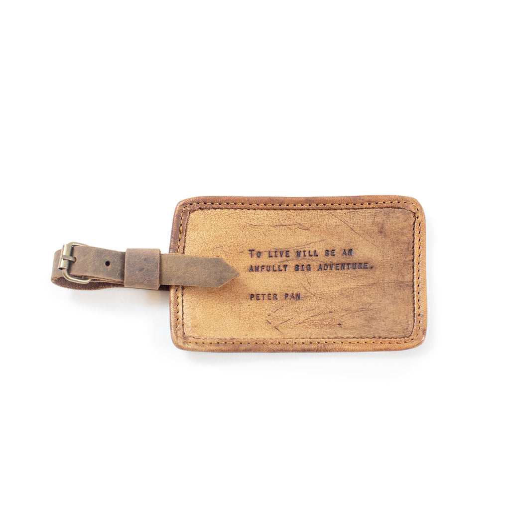 Leather Luggage Tag - Gold Leaf