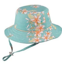 Load image into Gallery viewer, Teal Floppy Leilani Girls Hat - Gold Leaf
