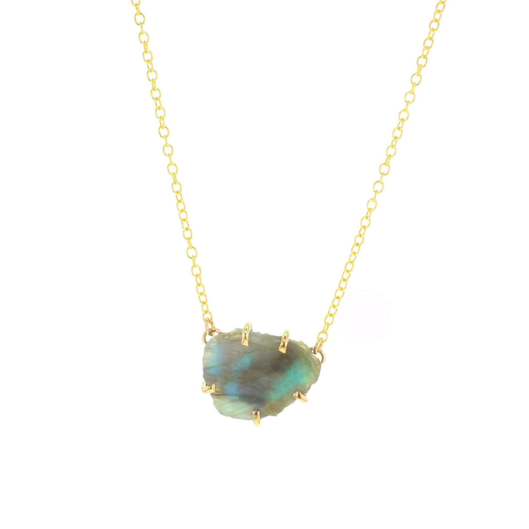 Gold Palisade Necklace with Labradorite