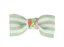 Load image into Gallery viewer, Blue Stripe Bow Hair Clip