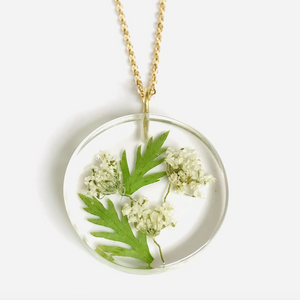 Small May White Hawthorn Full Moon Pendant