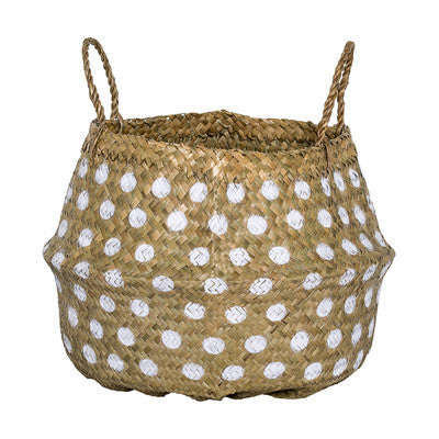 Polka Dot Seagrass Basket