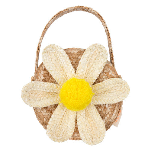 White Daisy Straw Bag - Gold Leaf