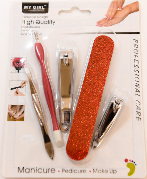 Professional Care Set, Red Manicure, Pedicure, Makeup