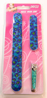 Nail File Set 3PCS Blue Cheetah Print