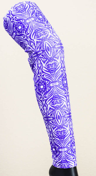 White & Purple Abstract Workout Leggings