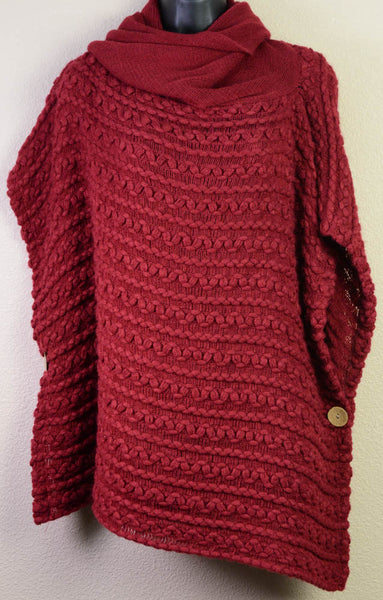 Braided Burgundy Poncho