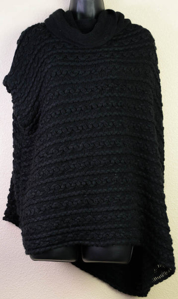Braided Black Poncho