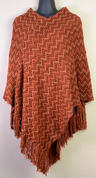 Braided Burnt Orange Poncho