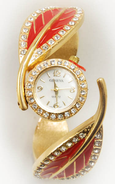 Geneva Red Leaf Watch with Gold Plated Metal Loop