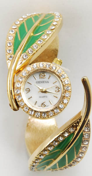 Geneva Green Leaf Watch with Gold Plated Metal Loop