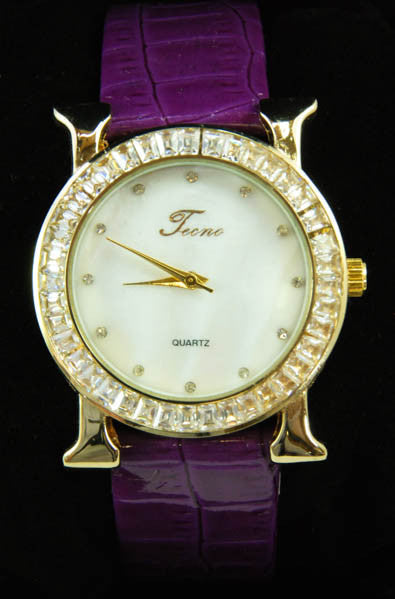 Purple Leather Band Tecno Women's Watch