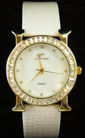 All White Leather Band Tecno Women's Watch