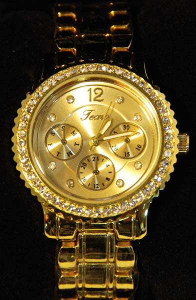 Tecno Sport Gold Tone Metal Watch with Cubic Zirconia for Women