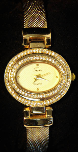 Tecno Gold Plated Women's Watch with Cubic Zirconia