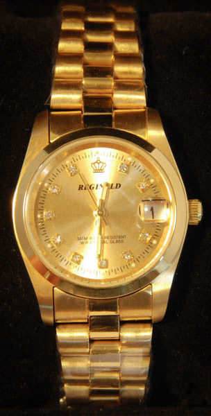 Gold Reginald Crown Women's Watch with Rhinestone