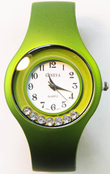 Green Geneva Bangle Cuff Watch