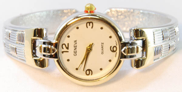 Geneva Silver, Gold Metal Loop Bangle Cuff Watch