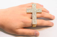 Crystal Cross Three Finger Ring