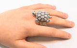 Sterling Silver with Rhinestone Turtle, Adjustable Ring