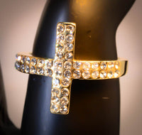 Yellow Gold Plated Sideways Cross with Cubic Zirconia