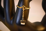 Gold-Tone Crown on the Chain Adjustable Ring