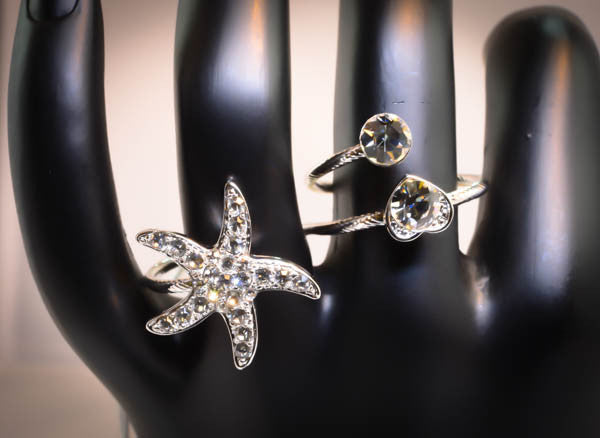 Sterling Silver Cubic Zirconia Starfish Two-Finger Ring