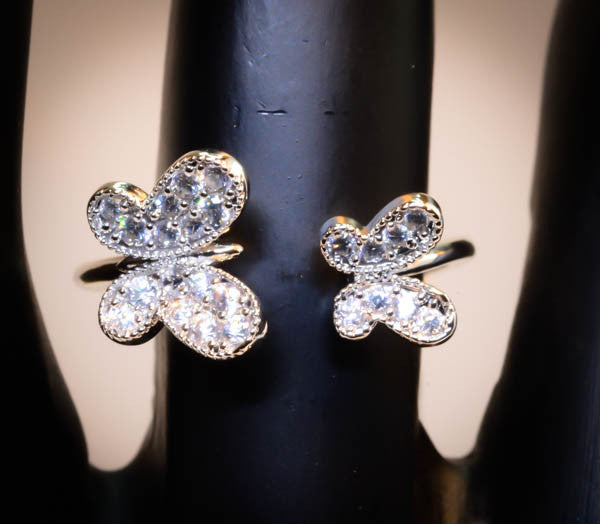 Sterling Silver crystal Butterfly Ring Adjustable