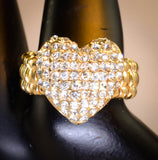 Heart with Cubic Zirconia Adjustable Ring