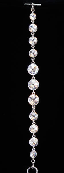 Platinum Plated Swarovski Elements Round Crystals with Cubic Zirconia Bracelet