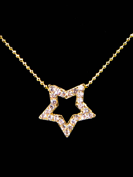 Cubic Zirconia Star Necklace 16''