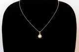 Gold-Tone Flower with Button & Cubic Zirconia pendant necklace 16''