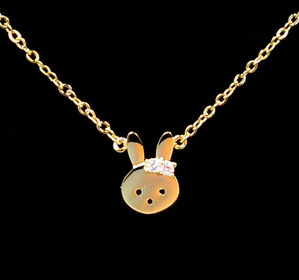 Bunny Face with Cubic Zirconia Necklace
