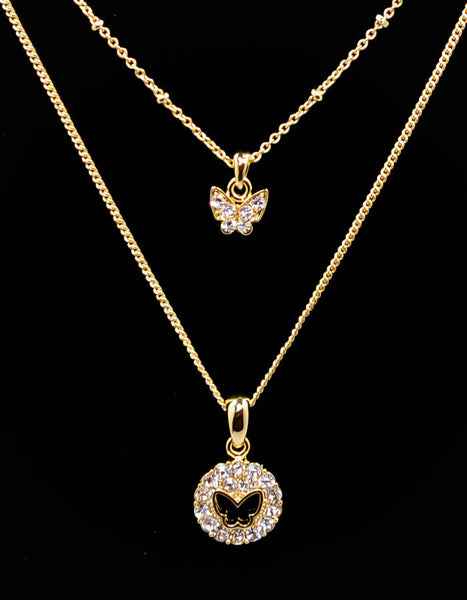 Gold plated double strand Butterfly Cubic Zirconia Necklace 16''