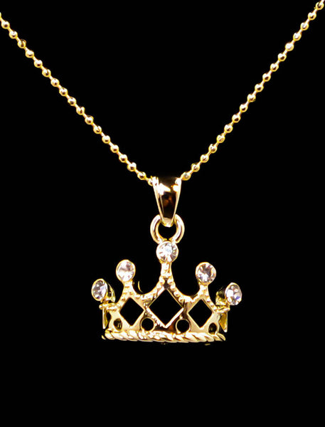 Round Crown Pendant Necklace with Cubic Zirconia