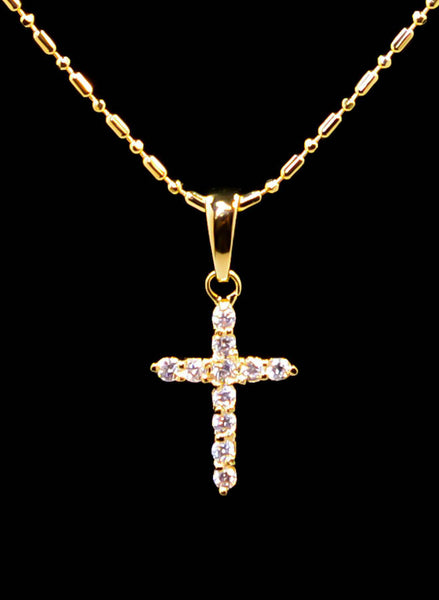 Gold Plated Small Cross Pendant Necklace 16''-17''