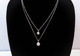 Sterling Silver Double Strand Cubic Zirconia Necklace 16''